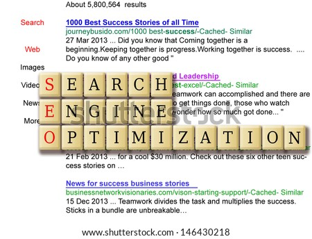 search engine result of business success search term. - stock photo