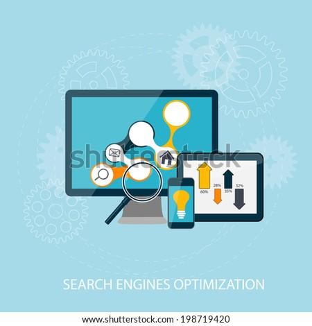 Search Engines Optimization Concept  Illustration. Retro - stock photo