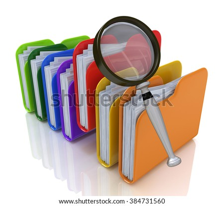 search for files in the folder in the design of the information related to finding the right information - stock photo
