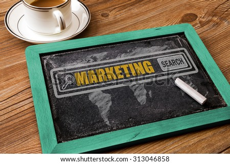 search for marketing concept on chalkboard