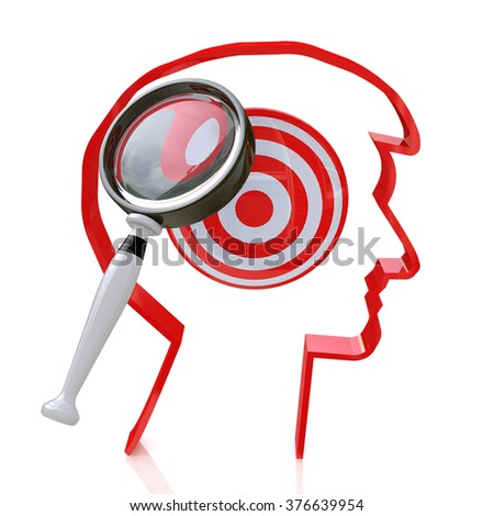 search for new targets for the design of information related to the formulation of purpose - stock photo