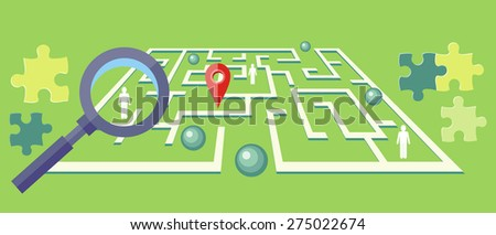 Search for solution labyrinth, maze, puzzle concept with business people. Concept in flat design style. Use for web banners, marketing and promotional materials, presentation templates. Raster version - stock photo