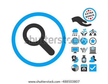 Search icon with bonus pictograph collection. Glyph illustration style is flat iconic bicolor symbols, blue and gray colors, white background.