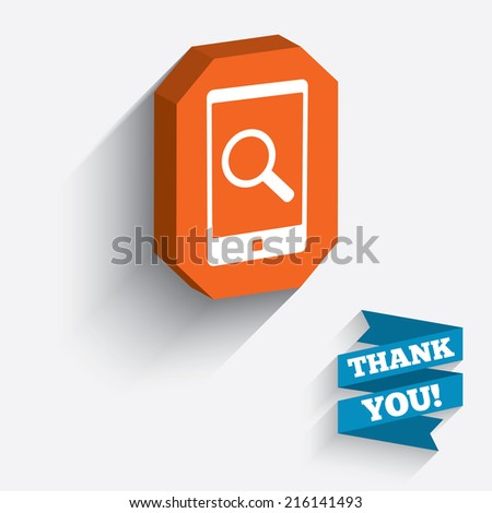 Search in Smartphone sign icon. Find in phone symbol. White icon on orange 3D piece of wall. Carved in stone with long flat shadow.