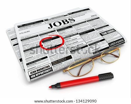 Search job. Newspaper with advertisments, glasses and marker. 3d - stock photo