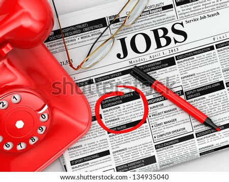 Search job. Newspaper with advertisments, glasses and phone. 3d - stock photo