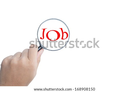 Search Jobs with a magnifying glass on white background  - stock photo