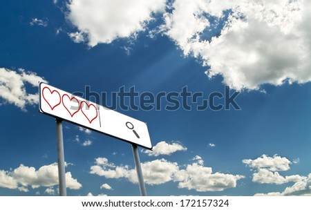 Search line with hearts against blue sky - stock photo