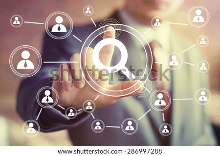 Search magnifier business online communication icon - stock photo