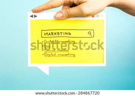 Search Marketing: Content marketing, digital marketing, seo and social media. - stock photo