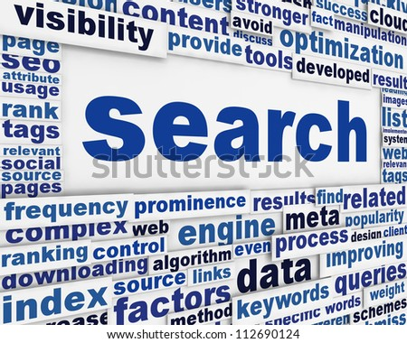 Search message conceptual design. New media optimization poster concept - stock photo