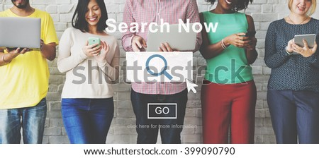 Search Now Searching Magnifying Seeking Concept - stock photo