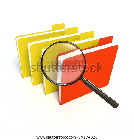 Search of data. One red. Isolated 3D - stock photo