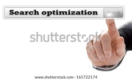 Search optimization written in search bar on virtual screen. - stock photo