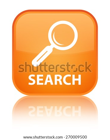 Search orange square button - stock photo
