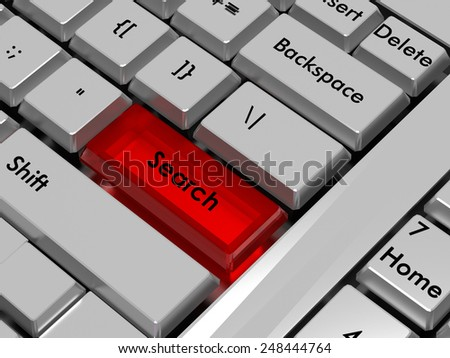 Search. Red hot key on computer keyboard