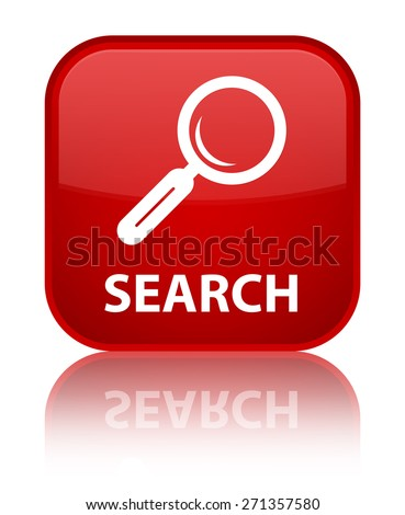Search red square button - stock photo