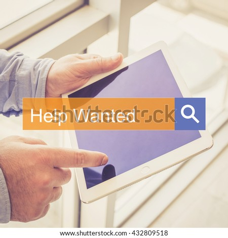 SEARCH TECHNOLOGY COMMUNICATION  Help Wanted TABLET FINDING CONCEPT - stock photo