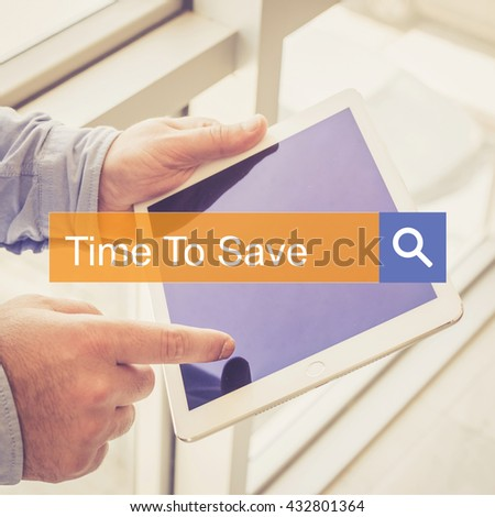 SEARCH TECHNOLOGY COMMUNICATION  Time To Save TABLET FINDING CONCEPT - stock photo
