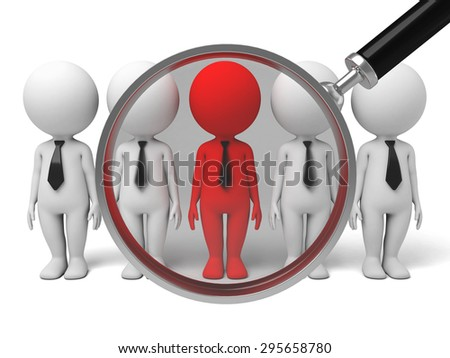 searching a group op people for talent with a magnifier. 3d image. Isolated white background. - stock photo