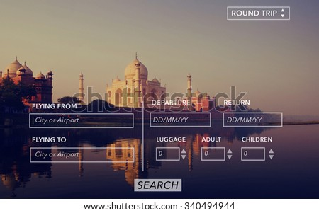 Searching Booking Flight Round Trip Travel Concept - stock photo
