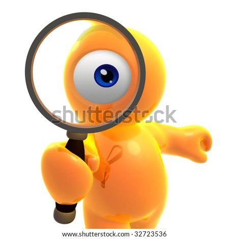 Searching eye icon character illustration - stock photo