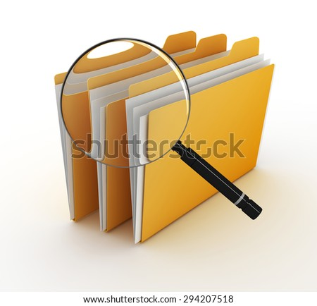 Searching file , 3d rendered image. - stock photo