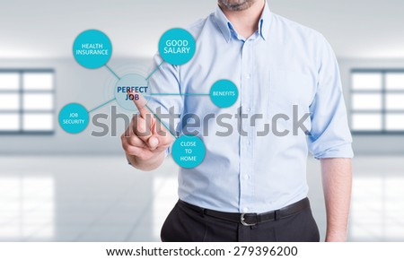 Searching for perfect job concept with a man pressing button on transparent touch screen - stock photo