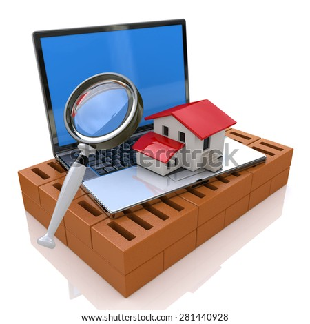 Searching for Real Estate Online  - stock photo