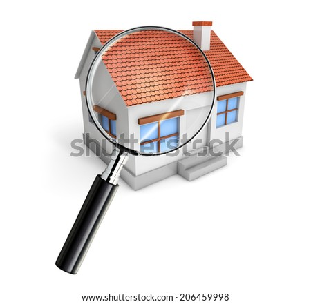 searching for real estate with magnifying glass isolated white background - stock photo