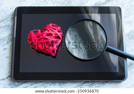 Searching for the love on line  - stock photo