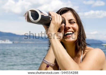 searching for vacation - stock photo