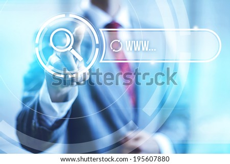 Searching internet concept pointing finger - stock photo