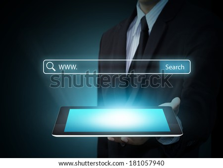 Searching system and internet concept, Technology computer touch screen - stock photo