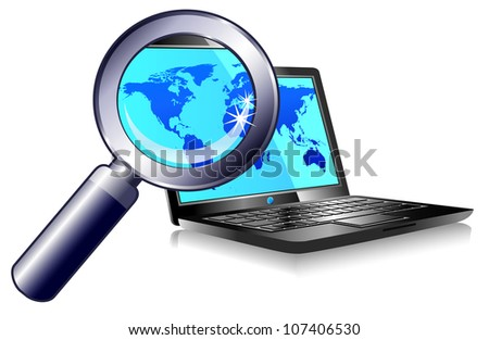 Searching the world wide web from a laptop - search engine - Raster version
