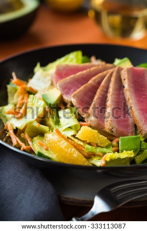 Seared Ahi tuna on a green salad with citrus