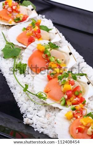 Seared scallops with tropical salsa, Macro closeup for design work - stock photo