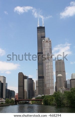Sears Tower and other buildings in Chicago - stock photo
