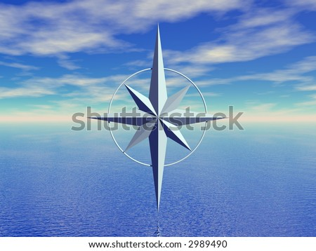 seascape and compass (background for travel)