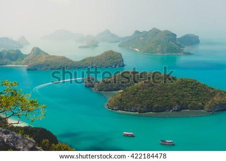 Seascape and island - stock photo