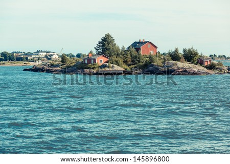 Seascape and Little Islands next to Helsinki - stock photo