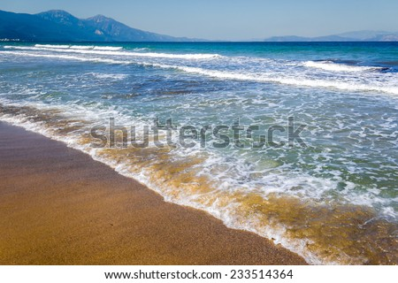 Seascape and mountains - stock photo