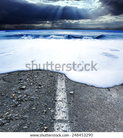 Seascape and storm.Highway ocean is swallowed - stock photo