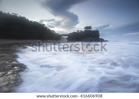 Seascape and various pattern of wave motion blur. Nature composition,grain and noise effect,soft focus and vibrant colours.