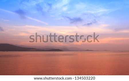 Seascape at dusk in Thailand - stock photo