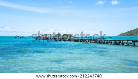 Seascape at small port in fisherman village in summer - stock photo