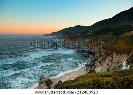 Seascape at sunrise in Big Sur in California. - stock photo
