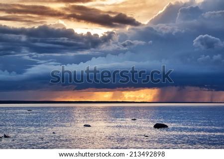 Seascape at sunset - stock photo