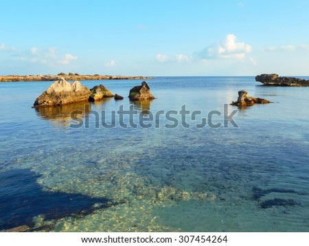 Seascape at sunset off the coast of Southern Italy - stock photo