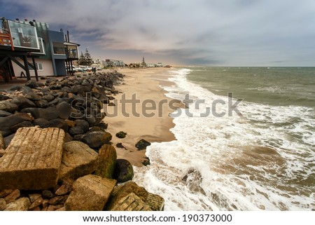 Seascape at Swakompund Coastal Town in Namibia, Africa - stock photo